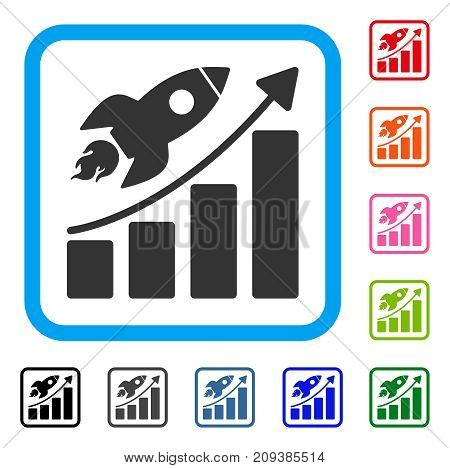 Rocket Startup Chart icon. Flat grey iconic symbol inside a light blue rounded square. Black, gray, green, blue, red, orange color versions of Rocket Startup Chart vector.