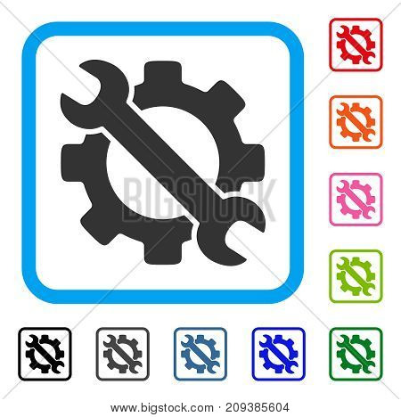 Service Tools icon. Flat grey pictogram symbol in a light blue rounded square. Black, gray, green, blue, red, orange color versions of Service Tools vector. Designed for web and app UI.