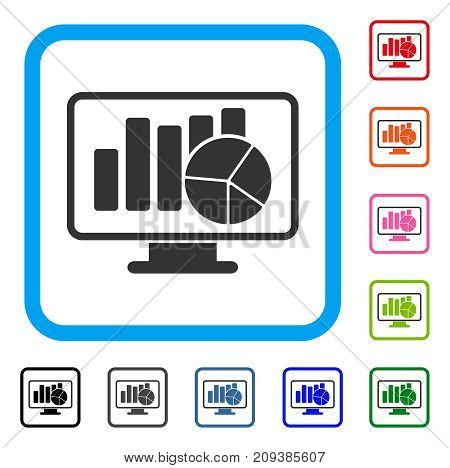 Statistics Monitoring icon. Flat gray pictogram symbol inside a light blue rounded rectangular frame. Black, gray, green, blue, red, orange color variants of Statistics Monitoring vector.