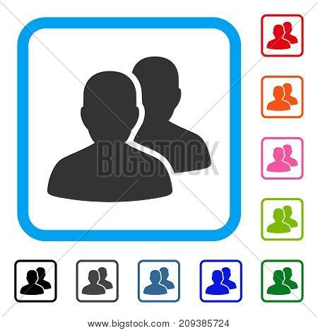 User Accounts icon. Flat gray pictogram symbol in a light blue rounded rectangle. Black, gray, green, blue, red, orange color variants of User Accounts vector.