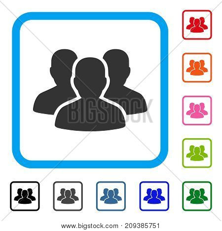 User Group icon. Flat grey iconic symbol inside a light blue rounded rectangular frame. Black, gray, green, blue, red, orange color variants of User Group vector. Designed for web and app UI.