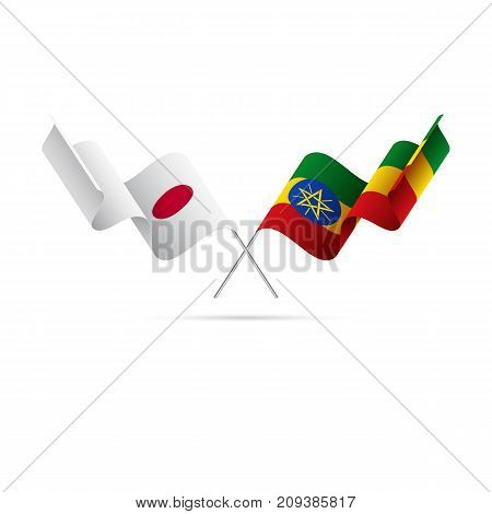 Japan and Ethiopia flags. Waving flags. Vector illustration.