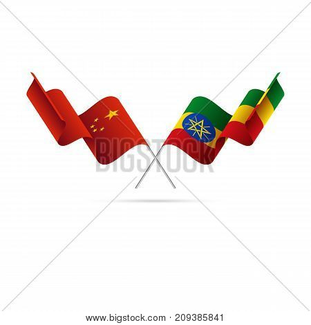 China and Ethiopia flags. Waving flags. Vector illustration.