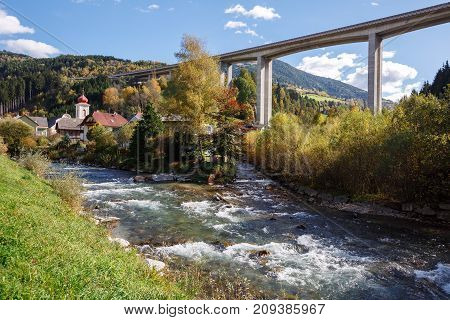 Tauern autobahn (motorway) bridge near the town of Eisentratten. Municipality Krems in Kaernten, district of Spittal an der Drau in Carinthia, Austria.