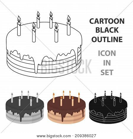 Chocolate cake icon in cartoon design isolated on white background. Cakes symbol stock vector illustration.