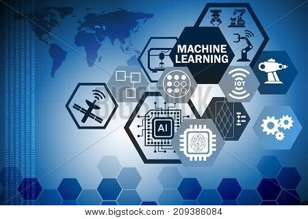 Machine learning computing concept of modern IT technology