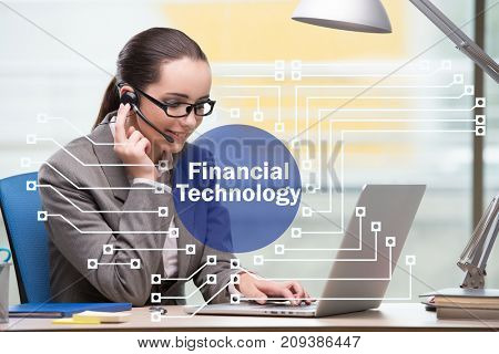 Businessman talking on headset in fintech concept