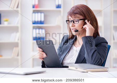 Call center operator working with clients