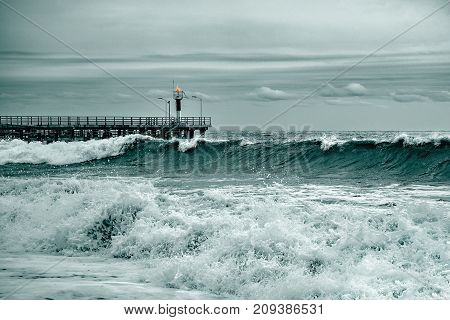 Fantastic sea view at stormy evening time.