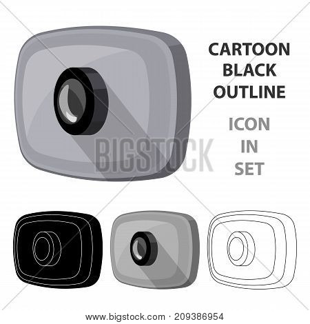 Webcam icon in cartoon design isolated on white background. Personal computer accessories symbol stock vector illustration.