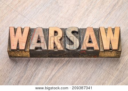 Warsaw word abstract in vintage letterpress wood type