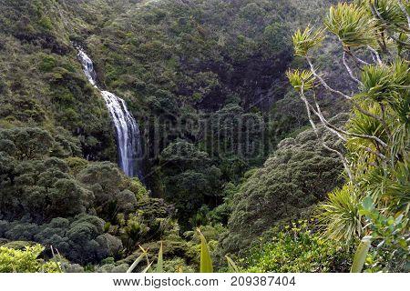 Aerial Landscape Of Karekare Falls New Zealand