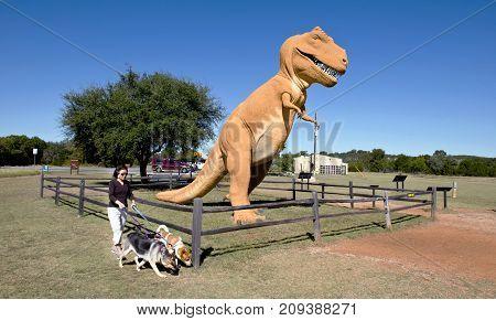 Glen RoseTexas - Oct.16-2017 Dinosaur Valley State Park in Glen RoseTX having Dino tracks over 100 million years old.