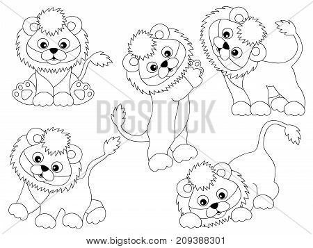 Vector set of black and white cute cartoon lions. Vector lion cub. Lions vector illustration