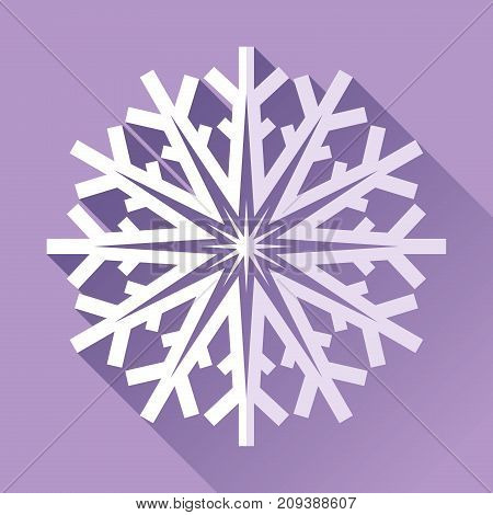 Snowflake icon in flat style on purple background. Ice crystal. Vector winter design element for you Christmas and New Year's projects