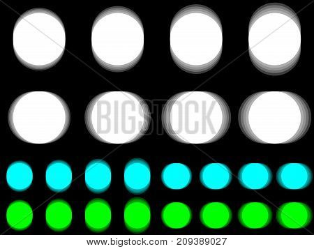 Vibrant circle vibrating white cyan green circle horizontal and vertical vibration of figure round template with vibration effect on black background