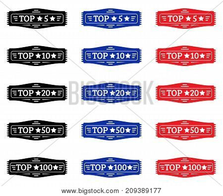 Top 5 top 10 top 20 top 50 top 100. Set of black red blue badge. White elements of decoration and text
