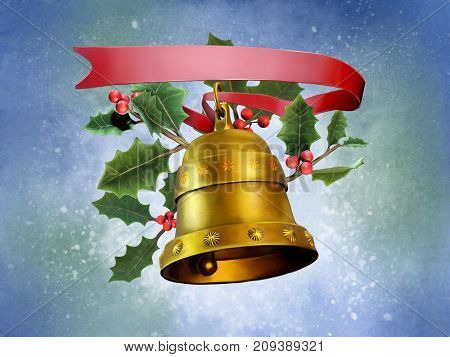 Christmas composition with a bell, a red ribbon and some mistletoe. Digital illustration.