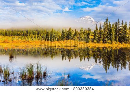 The concept of extreme and ecotourism. Patricia Lake among the firs and pines. Water reflects the sky. Cloudy morning in the Rocky Mountains