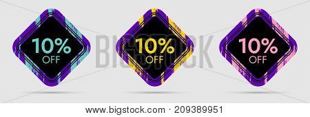 10 Off Discount Sticker. 10 Off Sale and Discount Price Banner. Vector Frame with Grunge and Price Discount Offer