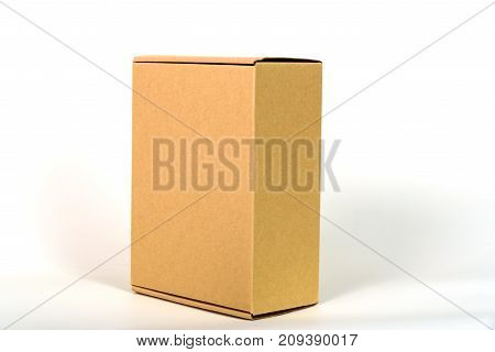 Brown Tray Or Brown Paper Package Or Cardboard Box With Soft Shadow.