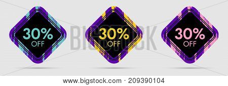 30 Off Discount Sticker. 30 Off Sale and Discount Price Banner. Vector Frame with Grunge and Price Discount Offer