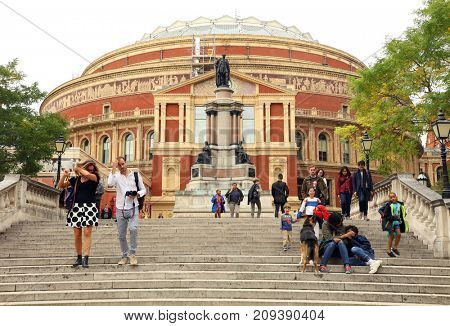 LONDON, UK - 24 SEPTEMBER, 2017: People spending their sunday afternoon in front of Albert Hall, London, UK