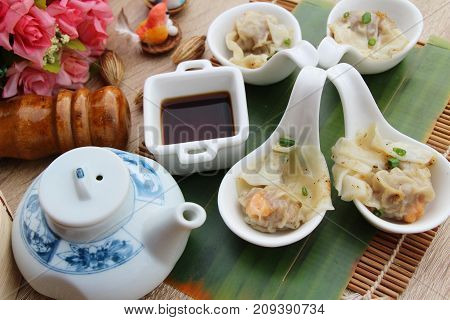 Chinese steamed dumpling with sauce is delicious