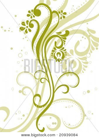 vector illustration of green floral with seamless background