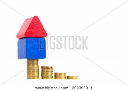 Model House Wood Form With Step Of Coins Stack Isolated On White Background, Real Estate Investment
