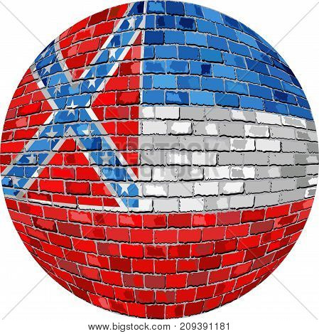Ball with Mississippi flag in brick style - Illustration