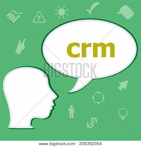 Text Crm On Digital Background. Information Concept . Head With Speech Bubble