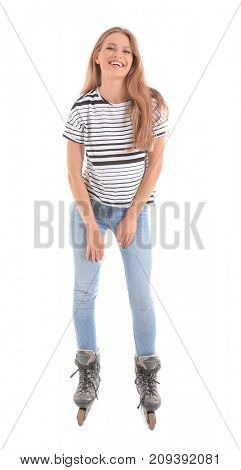 Woman on roller skates against white background