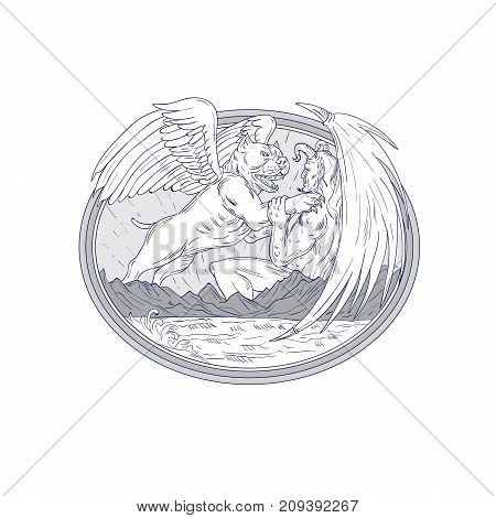 Drawing sketch style illustration of an American Bully Dog  with angel wing Fighting Demon with mountains and sea set inside oval shape on isolated background.