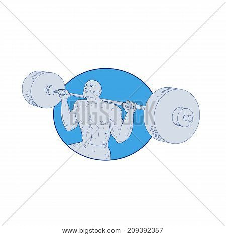 Drawing sketch style illustration of a Strongman weightlfter lifting Powerlifting Barbell set inside circle on isolated background.
