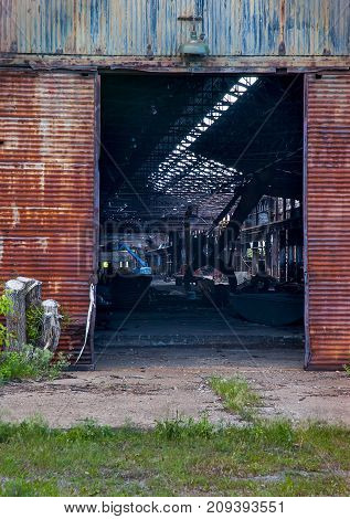 Old abandon steel factory doors near Detroit