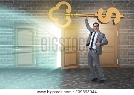 Businessman holding key to financial success and prosperity