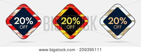 20 percent Off Discount Sticker. 20 Off Sale and Discount Price Banner. Vector Frame with Grunge and Price Discount Offer