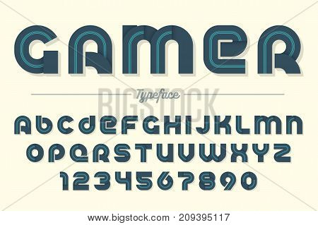 Gamer vector decorative font design alphabet typeface typography Vector illustration
