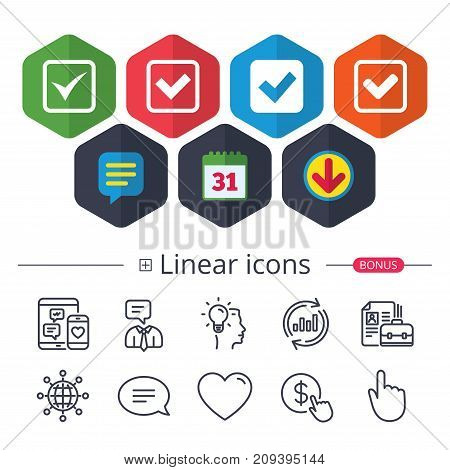 Calendar, Speech bubble and Download signs. Check icons. Checkbox confirm squares sign symbols. Chat, Report graph line icons. More linear signs. Editable stroke. Vector