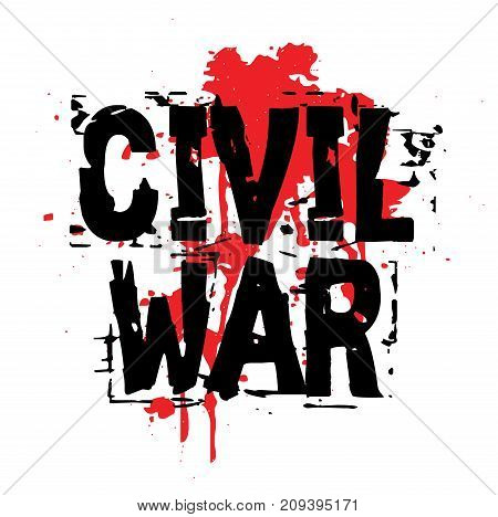 CIVIL WAR sticker. Authentic design graphic stamp. Original series poster