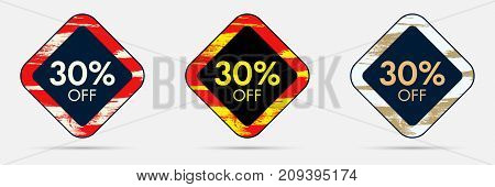 30 percent Off Discount Sticker. 30 Off Sale and Discount Price Banner. Vector Frame with Grunge and Price Discount Offer