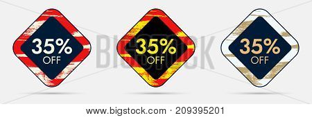 35 percent Off Discount Sticker. 35 Off Sale and Discount Price Banner. Vector Frame with Grunge and Price Discount Offer