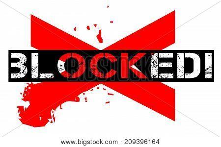 Blocked sticker. Authentic design graphic stamp. Original series