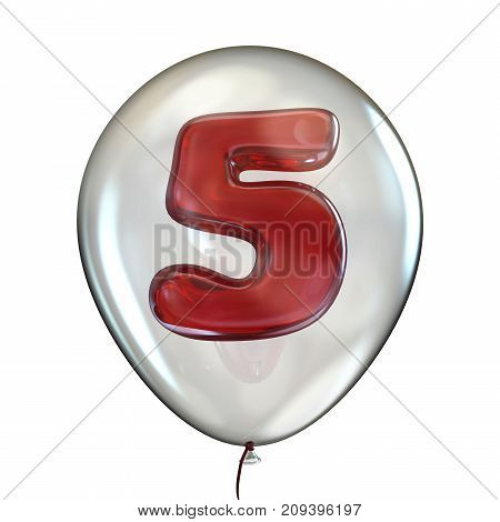 Number Five 5 In Transparent Balloon 3D