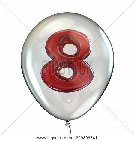 Number Eight 8 In Transparent Balloon 3D
