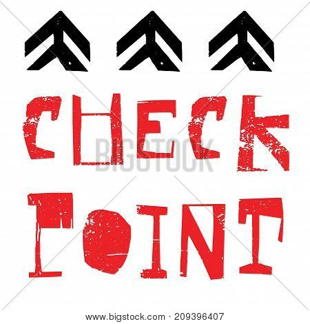 Checkpoint sticker. Authentic design graphic stamp. Original series