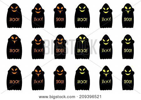 Halloween ghost with inscription Boo set of vector black ghosts halloween holiday elements of decoration in orange and yellow color