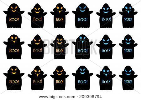 Cartoon ghost with smile cheeks pupils of the eyes hands and inscription Boo. Set of vector black ghosts Halloween with orange and blue gradient