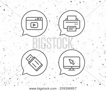 Speech bubbles with signs. Printer, USB flash drive and Monitor line icons. Browser window sign. Computer devices. Grunge background. Editable stroke. Vector
